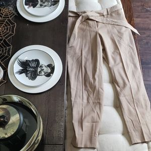 White House Black Market Tan Cropped Trouser NWT